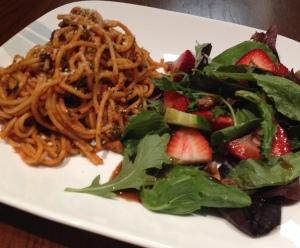 Plated Spaghetti and Salad